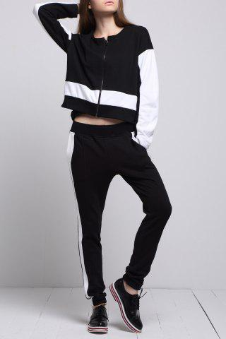 Discount Zipper Color Block Sports Suits