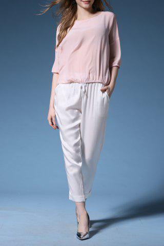 Cheap Silk Blouse with Cuffed Cigarette Pants