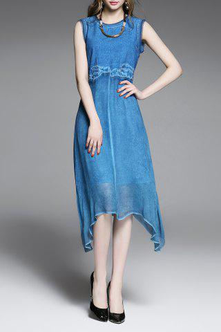 Large SAPPHIRE BLUE Patchwork Embroidery Asymmetrical Dress