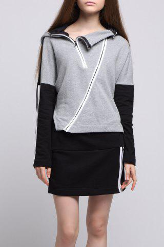 Affordable Zip Slit Hoodie with Mini Skirt
