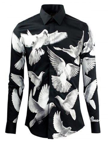 Shops Doves Printed Plain Fly Shirt Collar Long Sleeves Shirt For Men WHITE AND BLACK 2XL