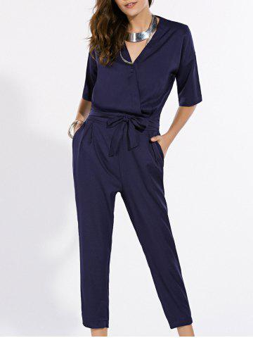 Store Fashionable V-Neck Short Sleeve Pure Color Jumpsuit For Women
