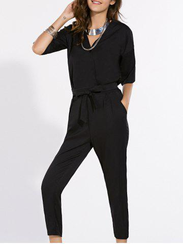 Outfits Fashionable V-Neck Short Sleeve Pure Color Jumpsuit For Women BLACK S