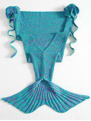 Stylish Knitted Flowers Embellished Mermaid Tail Shape Blanket For Kids -