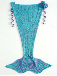 Stylish Knitted Flowers Embellished Mermaid Tail Shape Blanket For Kids