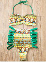 Alluring Strapless Zig Zag Print Bikini Suit For Women - GREEN M