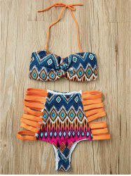 Alluring Strapless Cut Out Print Bikini Suit For Women -