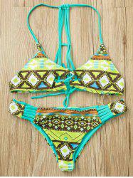 Ethnic Strappy Racerback Print Bikini Set For Women