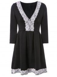 Elegant Plunging Neck 3/4 Sleeve Lace Spliced Pleated Dress For Women -