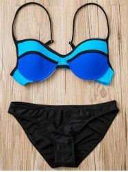 Chic Spaghetti Strap Push Up Hit Color Women's Bikini Set