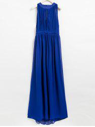 Pleated Halter Hollow Out Backless Maxi Dress -
