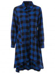 Trendy Long Sleeve Asymmetrical Plaid Dress For Women
