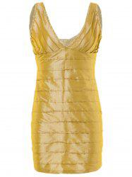 Golden Plunging Neck Backless Short Bodycon Mini Dress