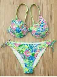Colorful Spaghetti Strap Floral Printed Bikini Set For Women