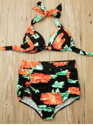 Spaghetti Strap Backless Floral Print Two-Piece Swimsuit