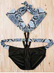 Sexy Halter Snake Pattern Hollow Out One-Piece Swimsuit For Women - BLACK M