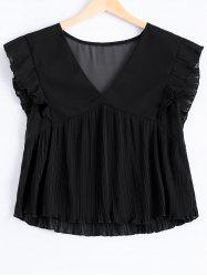 Fashionable Plunging Neck Fold Flounce Tank Top For Women -