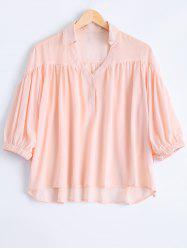 Fashionable V-Neck 3/4 Sleeve Strappy Blouse For Women -