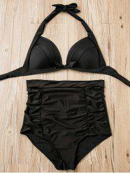 Ruched High Waisted Bikini With Halter Top - BLACK