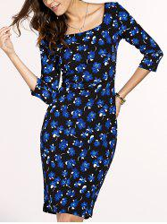 Chic Women's Square Neck 3/4 Sleeve Blue Flower Print Dress - BLUE AND BLACK