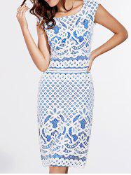 Short Sleeve Lace Crochet Pattern Dress - BLUE