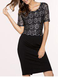 Chic Women's Short Sleeve Lace Spliced Jewel Neck Bodycon Dress