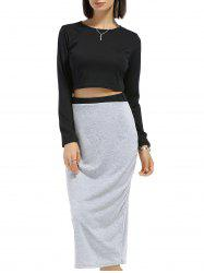 Chic Round Neck Long Sleeve Plain Crop Top + Spliced Skirt Women's Twinset - BLACK AND GREY