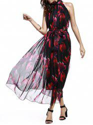 Sweet Stand Collar Sleeveless Floral Print Tied Chiffon Dress For Women
