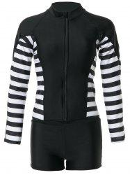 Stylish Round Neck Long Sleeve Striped Two-Piece Swimsuit For Women