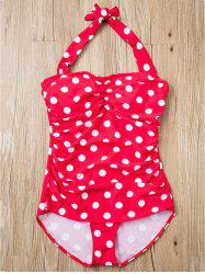 Stylish Halter Polka Dot Printed One-Piece Swimwear For Women