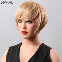Fluffy Neat Bang Short Siv Hair Human Hair Wig For Women