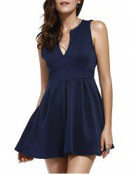 Plunging Neck Sleeveless Semi Formal Dress