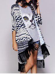 Chic Tribal Pattern Fringed Women's Kimono