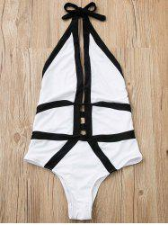 Halter Hit Color High Cut One Piece Swimwear - WHITE M