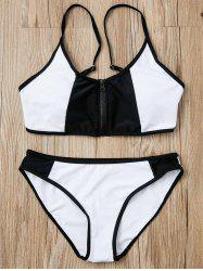 Chic Black and White Spliced Zip Up Bra and Briefs Bikini Set For Women -