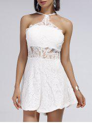 Cut Out Backless Sheer Lace Romper - WHITE