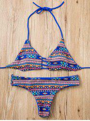 Stylish Halter Geometrical Print Bikini Set For Women