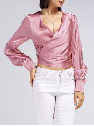 V-Neck Long Sleeve Bowtie Wrap Blouse -