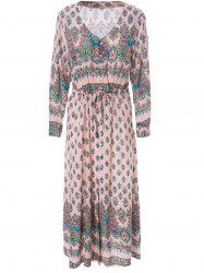 Bohemian V-Neck 3/4 Sleeve Printed Women's Dress - LIGHT PINK