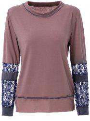 Trendy Scoop Neck Long Sleeve Tie-Dyeing  T-Shirt For Women - COFFEE L