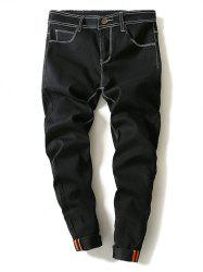 Contrast Suture Narrow Feet Denim Pants - BLACK