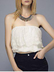 Embroidered Flounce Tube Top -