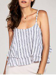 Stylish Spaghetti Strap Striped Layered Crop Top For Women -