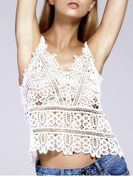 Simple Design Spaghetti Strap Crochet Top For Women -