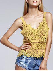 Simple Design Spaghetti Strap Crochet Top For Women