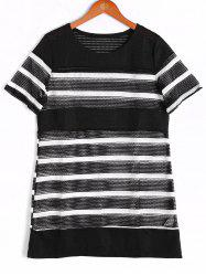 Fashionable Short Sleeve Stripe Round Neck Top For Women -
