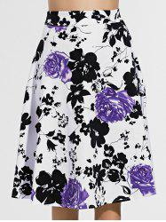 Retro Flower Print Knee-Length Skirt For Women