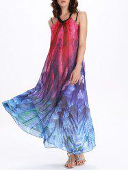 Tie Dye Backless Swing Maxi Sheer Long Flowy Dress - COLORMIX