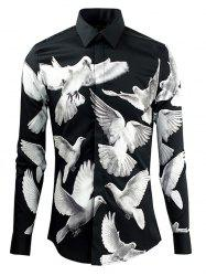 Doves Printed Plain Fly Shirt Collar Long Sleeves Shirt For Men