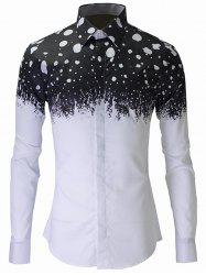 Dot Color Block Plain Fly Shirt Collar Long Sleeves Shirt For Men